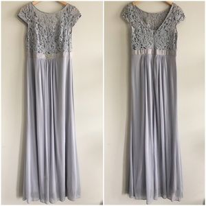 Adrianna Papell Silver Lace Gown Stretch Tulle 8